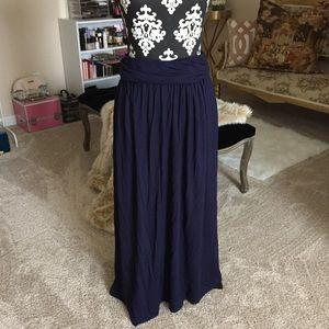 Navy Blue Jersey Maxi Skirt